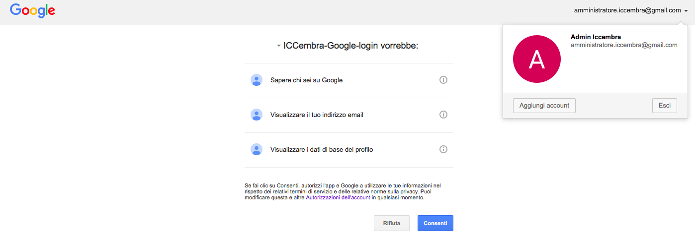 autorizzazione login gmail