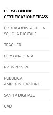corsi online e certificazioni eipass menu sito